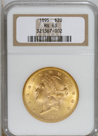 1895 $20 MS63 NGC. NGC Census: (2470/378). PCGS Population (1312/208). Mintage: 1,114,656. Numismedia Wsl. Price for NGC...