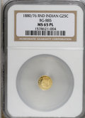 California Fractional Gold, 1880/76 25C Indian Round 25 Cents, BG-885, R.3, MS65 ProoflikeNGC....