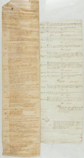 Books:Manuscripts, Pair of 14th and 15th Century Legal Rolls. [N.p., n.d.] Text inLatin....