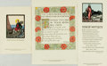 """Books:Prints & Leaves, Three Hand Colored Prints from the Cuala Press. Dublin: CualaPress, [n.d.]. Includes: Jack B. Yeats. No. 23, """"Rune of Hospi..."""