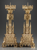 Decorative Arts, Continental, A PAIR OF GOTHIC REVIVAL GILT BRONZE PRICKET CANDLESTICKS, 20thcentury. 24-1/2 inches high (62.2 cm). PROPERTY FROM THE E...(Total: 2 Items)