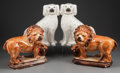 Ceramics & Porcelain, British:Antique  (Pre 1900), TWO PAIRS OF STAFFORDSHIRE POTTERY FIGURES, Staffordshire, England , mid 19th century. 12-1/2 inches high (31.8 cm) (pair of... (Total: 4 Items)