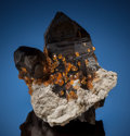 Minerals:Small Cabinet, SPESSARTINE on SMOKY QUARTZ. Wushan Spessartine Mine, Tongbei, Yunxiao Co., Zhangzhou Prefecture, Fujian Province, China...