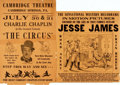 Miscellaneous:Broadside, [Motion Pictures]. Pair of Small Locally Produced PromotionalBroadsides. The first is a re-issue poster for Jesse Jamesa...