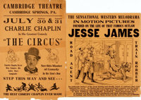 [Motion Pictures]. Pair of Small Locally Produced Promotional Broadsides. The first is a re-issue poster for Jesse
