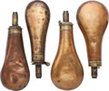 Arms Accessories:Flasks, Lot of Four Powder Flasks....