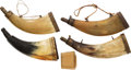 Arms Accessories:Horns, Fantastic Group of Four Powder Horns.... (Total: 5 Items)