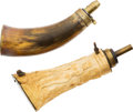 Arms Accessories:Horns, Vintage Powder Horn and Flask....