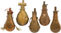 Arms Accessories:Flasks, Lot of Five Vintage Powder Flasks....