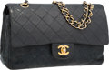 """Luxury Accessories:Bags, Chanel Black Quilted Lambskin Leather Medium Double Flap Bag withGold Hardware. Good to Very Good Condition. 10""""Widt..."""