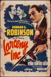 "Larceny, Inc. (Warner Brothers, 1942). One Sheet (27"" X 41""). Crime"