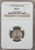 Mexico, Mexico: Republic 20 Centavos 1919-M MS67 NGC,...