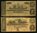 Confederate Notes:1864 Issues, Confederate, Alabama, and Mississippi 1863-64 Notes.. ... (Total: 7 notes)