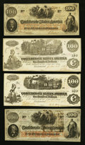 Confederate Notes:1862 Issues, T39, T40, and T41 $100's 1862.. ... (Total: 4 notes)