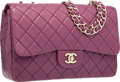 "Luxury Accessories:Bags, Chanel Purple Quilted Lambskin Leather Jumbo Single Flap Bag withSilver Hardware. Very Good Condition. 11.5"" Width x..."