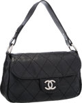 "Luxury Accessories:Bags, Chanel Black Quilted Leather On The Road Bag with Silver Hardware.Very Good to Excellent Condition. 13"" Width x 7""He..."