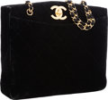 """Luxury Accessories:Bags, Chanel Black Quilted Velvet Tote Bag with Gold Hardware. VeryGood to Excellent Condition. 13"""" Width x 10"""" Height x3...."""