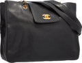 "Luxury Accessories:Accessories, Chanel Black Caviar Leather Tote Bag with Gold Hardware. 13""Width x 11"" Height x 3.5"" Width. Very Good Condition...."