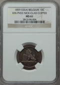 Belgium, Belgium: Leopold I nickel clad copper Pattern 10 Centimes 1859 MS61NGC,...