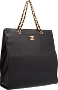 "Luxury Accessories:Accessories, Chanel Black Caviar Leather Tote Bag with Gold Hardware. 12""Width x 13"" Height x 4"" Depth. Good to Very GoodConditio..."