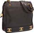 "Luxury Accessories:Bags, Chanel Black Lambskin Leather Tote Bag with Gold Hardware. VeryGood Condition. 12.5"" Width x 11.5"" Height x 4"" Depth..."