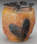 Art Glass:Other , ALMERIC WALTER PATE-DE-VERRE GLASS CICADA COVERED BOWL, Designed byHenri Bergé, Nancy, France, circa 1920. Marks: A, Berg...