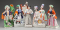 Ceramics & Porcelain, British:Antique  (Pre 1900), A GROUP OF FIVE STAFFORDSHIRE POTTERY FIGURES, Staffordshire, England , mid 19th century. 13 inches high (33.0 cm) (tallest)... (Total: 5 Items)