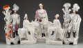 Ceramics & Porcelain, British:Antique  (Pre 1900), A GROUP OF FIVE STAFFORDSHIRE POTTERY FIGURES, Staffordshire, England , mid 19th century. 16-7/8 inches high (42.9 cm) (larg... (Total: 5 Items)