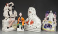 Ceramics & Porcelain, A GROUP OF FOUR STAFFORDSHIRE POTTERY FIGURES, Staffordshire, England , late 19th century. 10-7/8 inches high (27.6 cm) (tal... (Total: 4 Items)