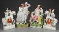 Ceramics & Porcelain, British:Antique  (Pre 1900), A GROUP OF FOUR STAFFORDSHIRE POTTERY FIGURES, Staffordshire, England , mid 19th century. 14-1/4 inches high (36.2 cm). PR... (Total: 4 Items)
