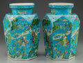 Asian:Chinese, A PAIR OF CHINESE POLYCHROME HEXAGONAL PORCELAIN VASES. 12-1/4inches high (31.1 cm). ... (Total: 2 Items)
