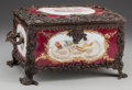 Ceramics & Porcelain, A SEVRES-STYLE PAINTED PORCELAIN TABLE CASKET WITH BRONZE MOUNTS, 20th century. Marks: (pseudo Sèvres marks). 7-1/2 x 15 x 9...