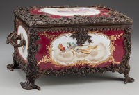 A SEVRES-STYLE PAINTED PORCELAIN TABLE CASKET WITH BRONZE MOUNTS, 20th century Marks: (pseudo Sèvres marks) 7-1...