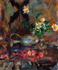 Paintings, Nicolai Fechin (Russian/American, 1881-1955). Still Life with Cherries, Pitcher, and Bouquet. Oil on canvas. 24 x 20 inc...