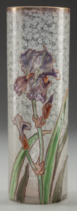 Art Glass:Other , A MONT JOYE ART NOUVEAU CLEAR, FROSTED AND ENAMELED GLASS IRISVASE, Paris, France, circa 1900. Marks: 62. 9-1/2 inches ...