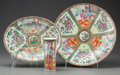 Asian:Chinese, THREE PIECES OF CHINESE ROSE MEDALLION PORCELAIN, late 19thcentury. 2-1/8 inches high x 13-1/2 inches diameter (5.4 x 34.3 ...(Total: 3 Items)