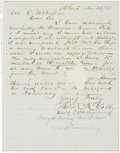 Autographs:Military Figures, Confederate General Thomas Reade Rootes Cobb Autograph Letter Signed...