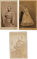 Autographs:Military Figures, Confederate General Roger W. Hanson: Group of Three Cartes deVisite, One of which is Signed....
