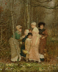 GEORGE HENRY BOUGHTON (British/American, 1833-1905) Snow in Spring, 1877 Oil on canvas 52-3/4 x 4