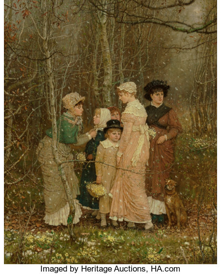 GEORGE HENRY BOUGHTON (British/American, 1833-1905)Snow in Spring, 1877Oil on canvas52-3/4 x 42-3/4 inches (134.0 ...