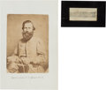 """Autographs:Military Figures, General James Ewell Brown """"JEB"""" Stuart: Albumen Photograph and Clipped Signature...."""