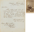 Autographs:Military Figures, Confederate Navy Commander Matthew F. Maury Autograph Letter Signed and Carte de Visite Signed.... (Total: 2 Items)