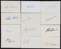 Baseball Collectibles:Others, Baseball Greats Signed Index Cards Lot of 12....