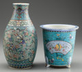 Asian:Chinese, A CHINESE CLOISONNÉ OVER PORCELAIN VASE AND JARDINIÈRE. Marks:(six-character mark). 9-3/4 inches high (24.8 cm) (vase). ...