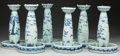 Asian:Chinese, A SET OF SIX CHINESE BLUE AND WHITE PORCELAIN CANDLESTICKS, late19th century. 10 inches high (25.4 cm) (each). ... (Total: 6 Items)