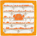 "Luxury Accessories:Accessories, Hermes 90cm Orange & White ""Les Ponts de Paris,"" by HugoGrygkar Silk Scarf. Very Good to Excellent Condition. 36""Wid..."