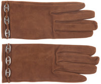 Hermes Fauve Veau Doblis Suede Farandole Gloves with Palladium Hardware Pristine Condition Size 7