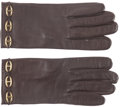 Luxury Accessories:Accessories, Hermes Havane Swift Leather Farandole Gloves with Gold Hardware.Very Good Condition. Size 7.5. ...