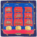 """Luxury Accessories:Accessories, Hermes 90cm Blue & Red """"Grand Largue,"""" by Pierre Péron SilkScarf. Excellent Condition. 36"""" Width x 36"""" Length...."""