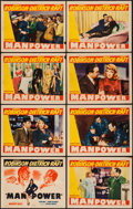 """Movie Posters:Drama, Manpower (Warner Brothers, 1941). Lobby Card Set of 8 (11"""" X 14""""). Drama.. ... (Total: 8 Items)"""